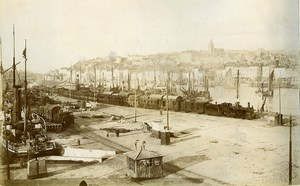 France Boulogne sur Mer port panorama Steam Train Old Photo 1890