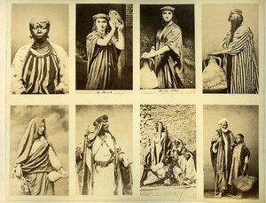 Egypt Female and Male portraits traditional costume Veiled Woman Old Photo 1890