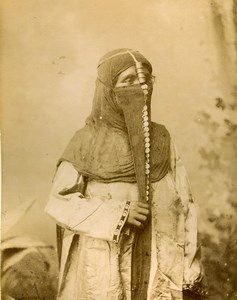 Egypt Female portrait traditional costume Veiled Woman Old Photo 1890
