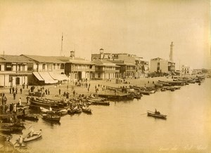 Egypt Suez Canal Port Saïd Boats & Place de Lesseps Old Photo Zangaki 1890