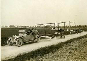 France Saint Cyr Aviation Paulhan biplane folded on a Trailer Car Old Photo 1911