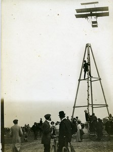 France Aviation Sommer Fly over Pylon Farman? Biplane Old Photo 1909