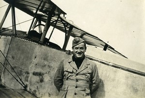 France Military Aviation Pilot and Airplane Old Photo 1920