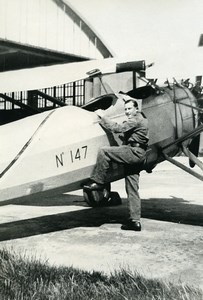France? Military Aviation Aviator and Airplane Old Photo 1925