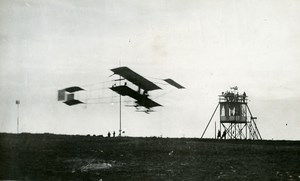 Belgium Brussels Stockel Aviation Farman Biplane in Flight Old Photo 1910