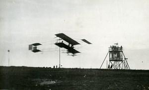 Belgium Brussels Stockel Aviation Farman Biplane in Flight Old Photo 1910