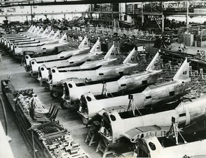 USA Aviation WWII Military Aircraft Factory Interior Boeing? Old Photo 1939