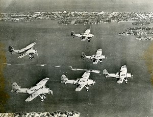 USA Miami Biscayne Bay American Navy Aircrafts Aviation Old Photo 1939