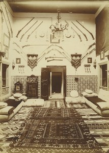 Morocco Marrakech Lounge Sitting Room Many Rifles Rugs Old Photo Felix 1915