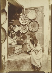 Morocco Marrakech Leather goods Shop Seller Old Photo Felix 1915