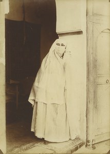 Morocco Marrakech Veiled Woman Old Photo Felix 1915