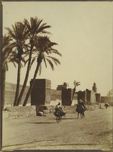 Morocco Marrakech City Wall Men on Mules Old Photo Felix 1915