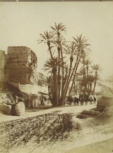 Morocco Marrakech City Wall Group of Men on Mules Old Photo Felix 1915