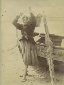 France Boulogne sur Mer Fisherwoman Old Photo Emile Frechon 1900