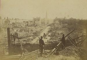 France Strasbourg Ruines Guerre vue generale du faubourg de Pierre Ancienne Photo Cabinet 1870