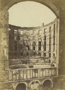 Strasbourg Wartime theater interior destruction Old Cabinet Photo Winter 1870