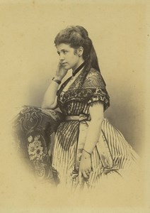 Italy Rome Young Lady Fashion Old Photo cabinet card Fratelli d'Alessandri 1870