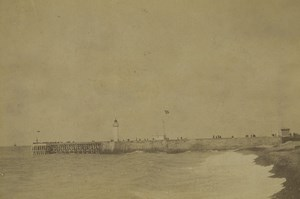 France Dieppe West Pier Lighthouse Seaside Old Photo 1891