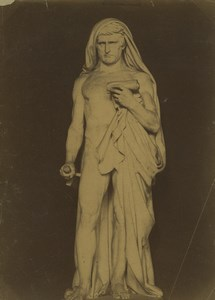 France ou Italie? Sculpture Scribe? Rouleau Parchemin Ancienne Photo 1880