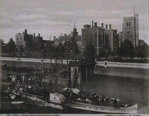 London Lambeth Palace & Pier Bridge Paddle Steamer Daisy Old Stengel Photo 1897
