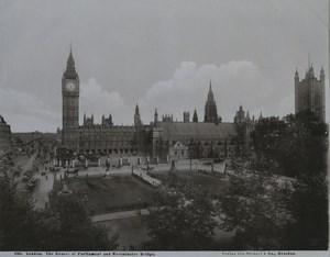 United Kingdom London Parlilament & Westminster bridge Old Stengel Photo 1897