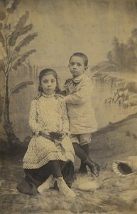 New Caledonia Noumea Children Portrait Old Photo cabinet card Hagen 1890