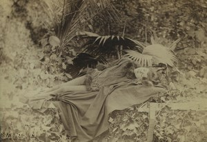 New Caledonia Noumea Sleeping Woman Outdoor Portrait Old Cabinet card Photo 1890
