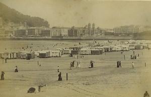 Espagne San Sebastian la Concha Cabines de Plage Ancienne Photo Neurdein 1890