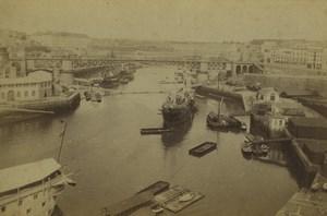 France Bretagne Brest le pont tournant et l'arsenal Ancienne Photo 1890