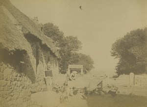 France Brittany Douarnenez Countryside Farmyard Poultry Old Photo 1890