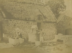 France Brittany Douarnenez Countryside Farmhouse Peasants Old Photo 1890