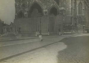 France WWI Somme Front Amiens Cathedral Protection Old Photo 1918