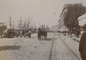France Marseille quays of the Old Port Horse Carriage Old Photo 1890