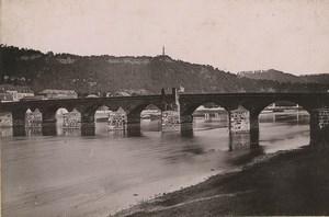 Allemagne Trier Trèves Pont sur la Moselle Mariensäule Ancienne Photo Carte Cabinet 1890