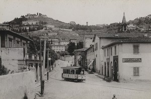 Italy Firenze Florence S Domenico & Fiesole Tramway Old Photo Cabinet card 1890