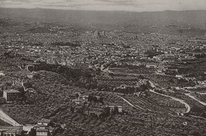 Italy Firenze Florence Panorama from Fiesole Old Photo Cabinet card 1890