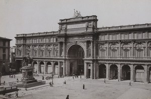 Italy Firenze Florence Piazza Vittorio Emanuele II Old Photo Cabinet card 1890