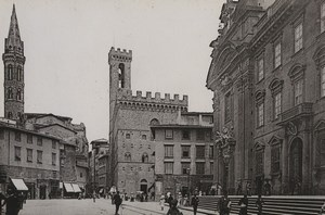 Italy Firenze Florence Piazza San Firenze Old Photo Cabinet card 1890
