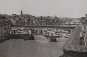 Italy Firenze Florence Panorama Ponte Vecchio Old Photo Cabinet card 1890
