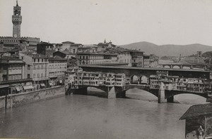 Italy Firenze Florence Ponte & Palazzo Vecchio Old Photo Cabinet card 1890