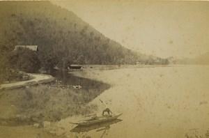France Gerardmer Lake Lac Boat Old Photo Cabinet card Neurdein 1890
