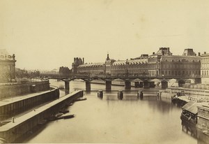 France Paris Louvre Palace Pavillon Sully Seine Bridge Old Baldus Photo 1855