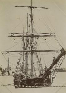 France Saint Malo Voilier Trois Mats dans le Port Ancienne Photo 1900