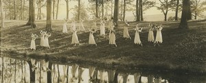 USA Boston? Outdoor Group Dance panorama Old Photo 1904