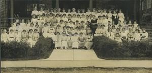 USA Boston Groupe de Collegiennes Ecole panorama Ancienne Photo 1904