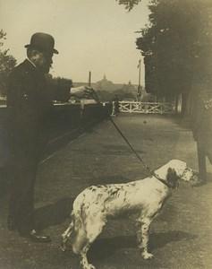 France Paris Mr Lasseran & Setter? Dog Prince de Colombes Old Photo 1900
