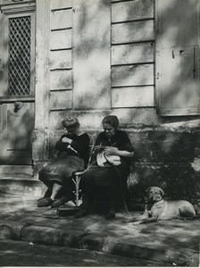 France Paris place du Tertre Ladies Knitting & Napping Dog Old Photo 1952