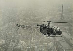 France Paris Eiffel Tower Helicopter SE 3130 Alouette 2 F-WHOF Aerial Photo 1970