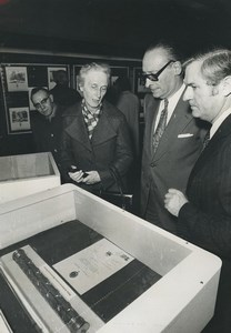 France Paris Marshal Leclerc wife at Prefecture of Police Stamp Fair Photo 1974