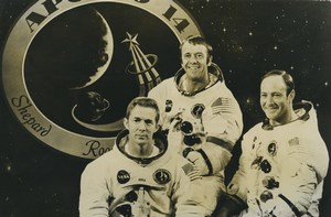 USA KSC Apollo 14 Stuart Roosa Alan Shepard & Edgar Mitchell Old Photo 1970